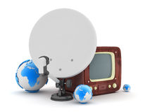 Retro television and modern satellite on white background Stock Photography