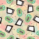 Retro television- och tappningradio på abstrakt bakgrundsvektormodell Royaltyfria Bilder