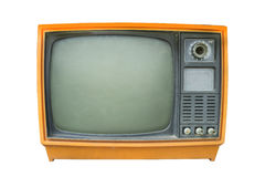 Retro television. Old vintage TV isolate on white, retro technology Stock Photography
