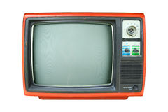 Retro television. Old vintage TV isolate on white, retro technology Royalty Free Stock Photography