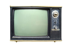 Retro television. Old vintage TV isolate on white, retro technology Stock Photos