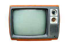 Retro television. Old vintage TV isolate on white, retro technology Stock Photo