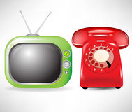 Retro television and phone. Retro television and red phone Royalty Free Stock Images