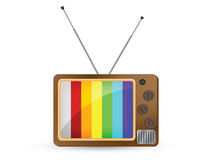 Retro Television with Rainbow Screen on white back Stock Photography