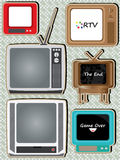 Retro Television Set_eps. Illustration of retro television set on squares pattern background Royalty Free Stock Photo