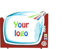 Retro television that shows your company name. On a white background vector illustration