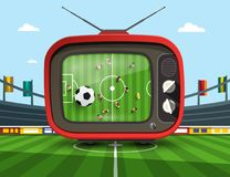 Retro Television with Soccer Match. On Footbal Stadium - Vector Royalty Free Illustration