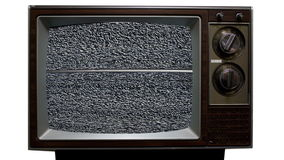 Retro Television with Static, Noise and Interference. Retro tv with static on screen and digital distortion stock video footage