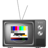 Retro television with test image. Detailed illustration of an old television with antenna and test image Stock Illustration