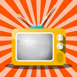 Retro Television. TV Cartoon on Red Background Royalty Free Stock Image
