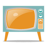 Retro Television. Vector illustration of old fashioned two legged TV set isolated on white background. Illustration of a light blue television on white vector illustration