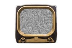 Retro televisione d'annata con lo schermo statico fotografia stock