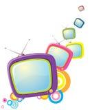 Retro televisioni su bianco Immagine Stock Libera da Diritti