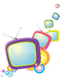 Retro televisions on white royalty free stock image