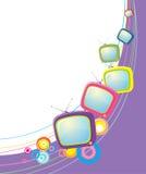 Retro televisions on white Stock Photos