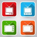 Retro telewizoru mieszkania ikony ilustracja wektor
