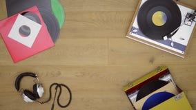 Retro tema för bakgrund för vinylrekord stock video