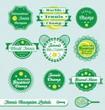 Retro Tennis Labels and Stickers. Collection of vintage style tennis labels and badges Royalty Free Stock Images
