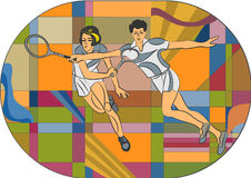 Retro tennis player vector illustration. Royalty Free Stock Photos