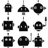 Retro teste d'annata dei robot 2 icone messe in bianco e nero Fotografie Stock
