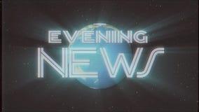 Retro testo brillante di EVENING NEWS con animazione dello schermo di effetto TV di introduzione del vecchio nastro commovente di royalty illustrazione gratis