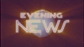 Retro testo brillante di EVENING NEWS con animazione dello schermo di effetto TV di introduzione del vecchio nastro commovente di illustrazione vettoriale