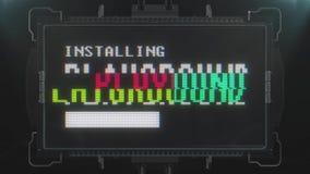 Retro testo del campo da giuoco del videogioco sul ciclo senza cuciture della TV di impulso errato di interferenza di animazione  illustrazione di stock