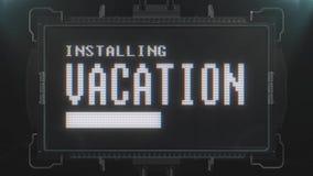 Retro testo di vacanza del videogioco sul ciclo senza cuciture della TV di impulso errato di interferenza di animazione futuristi royalty illustrazione gratis