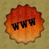 Retro testo di WWW sul fondo di legno del pannello Fotografia Stock