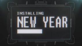 Retro text för nytt år för videogame på sömlös ögla 2 för futuristisk för tvtekniskt felstörning animering för skärm Ny kvalitet stock video