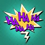 Retro text Haha för komisk bubbla Arkivfoto