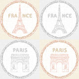 Retro texture with the monuments of Paris. Royalty Free Stock Photos