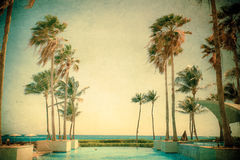 Retro Textured Beach Resort Royalty Free Stock Images