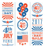 Retro 4th of July design elements. For greeting cards, web page banners, posters Royalty Free Stock Photos