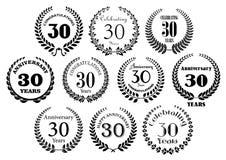 Retro 30th rok rocznicowi laurowi wianki Zdjęcia Stock