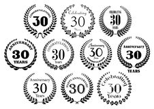 Retro 30th years anniversary laurel wreaths. Retro stylized decorative 30th years anniversary laurel wreaths black symbols with greeting text. Great for Stock Photos