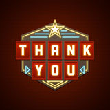 Retro Thank You Message Sign Design. Signage Light Bulbs Frame and Neon Lamps on brick wall background. American advertisement style vector illustration. Thank royalty free illustration