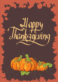 Retro Thanksgiving card with pumpkins Stock Photography
