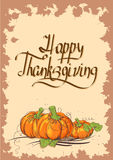 Retro Thanksgiving card with pumpkins Royalty Free Stock Photo