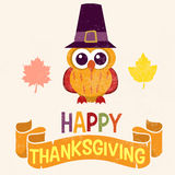 Retro Thanksgiving Day card design with cute little owl in Pilgrim hat. On light background Royalty Free Stock Photo