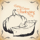 Retro Thanksgiving Pumpkin Dessert Poster, Vector Illustration Stock Photos