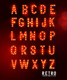 Retro- Theater Beleuchtungs-Buchstaben vektor abbildung
