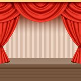 Retro theater scene background design with red curtain. Retro open theater scene background design with red curtain and striped backdrop. Wooden stage with Royalty Free Stock Photos