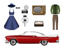Retro things. Set of vintage objects. On white background. Old fashion 60s. Icons of cars, clothes and electronics. Vector illustration Royalty Free Stock Photography