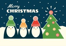 Retro three penguins and christmas tree. Greeting card. Vector retro styled illustration of three penguins in colorful knit hats standing near decorated fir tree Royalty Free Stock Images