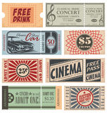 Retro Tickets and Coupons. Vintage tickets  collection. Retro coupons set Stock Images