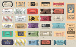 30 Retro tickets set Stock Images