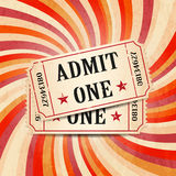 Retro tickets on twirl background. Tickets on abstract vintage background with grunge texture Stock Photo