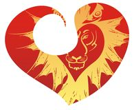 Retro tiger head in red heart Stock Photo