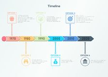 Retro timeline infographic. Trendy modern design template. Stock Images
